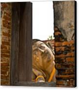 Reclining Buddha View Through A Window Canvas Print