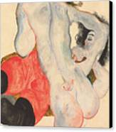 Reclining Woman In Red Trousers And Standing Female Nude Canvas Print by Egon Schiele