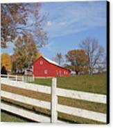 Red Amish Barn Canvas Print by Donna Bosela