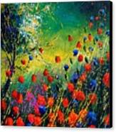 Red And Blue Poppies  Canvas Print