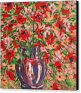 Red And Pink Poppies. Canvas Print