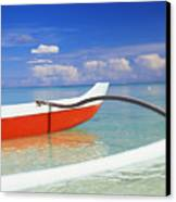 Red And White Canoe Canvas Print