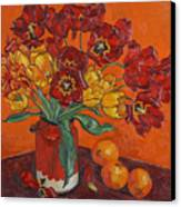 Red And Yellow Tulips And Oranges Canvas Print
