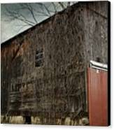 Red Barn Doors Canvas Print by Stephanie Calhoun