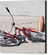 Red Bike On The Beach Canvas Print