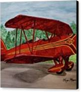 Red Biplane Canvas Print by Megan Cohen