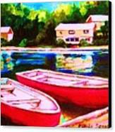 Red Boats At The Lake Canvas Print