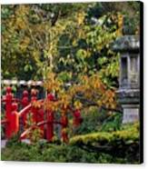 Red Bridge & Japanese Lantern, Autumn Canvas Print by The Irish Image Collection
