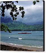 Red Canoe On Hanalei Bay Canvas Print by Kathy Yates