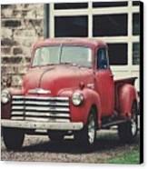 Red Chevrolet Canvas Print by Stephanie Calhoun