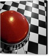Red Cushion Stool Above Chequered Floor Canvas Print by Peter Young