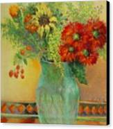 Red Daisies In Green Glass                                 Copyrighted Canvas Print
