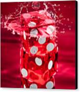 Red Dice Splash Canvas Print