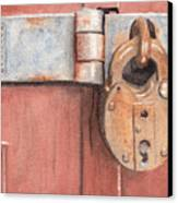 Red Door And Old Lock Canvas Print