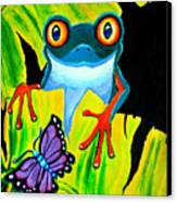 Red Eyed Tree Frog And Purple Butterfly Canvas Print by Nick Gustafson