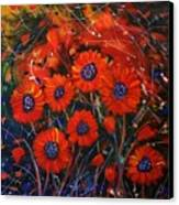 Red Flowers In The Night Canvas Print