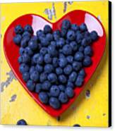 Red Heart Plate With Blueberries Canvas Print
