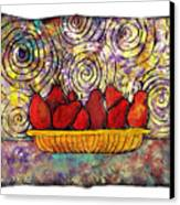 Red Pears In A Bowl Canvas Print
