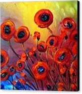 Red Poppies In Rain Canvas Print