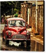 Red Retromobile. Morris Minor Canvas Print