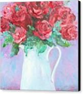 Red Roses In White Jug Canvas Print by Jan Matson