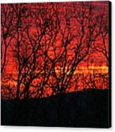 Red Sunrise Over The Ozarks Canvas Print