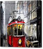 Red Tram Canvas Print by Yuriy  Shevchuk