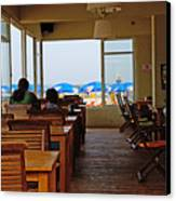 Restaurant On A Beach In Tel Aviv Israel Canvas Print by Zalman Latzkovich