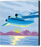 Retro Airliner Flying  Canvas Print