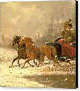 Returning Home In Winter Canvas Print