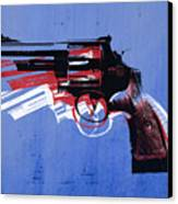 Revolver On Blue Canvas Print by Michael Tompsett