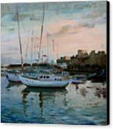 Rhodes Mandraki Harbour Canvas Print by Ylli Haruni