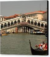 Rialto Bridge In Venice With Gondola Canvas Print