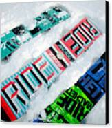 Ride In Powder Snowboard Graphics In The Snow Canvas Print by Andy Smy