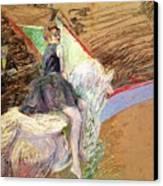 Rider On A White Horse Canvas Print by Henri de Toulouse Lautrec