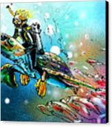 Riding A Turtle Canvas Print
