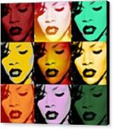 Rihanna Warhol By Gbs Canvas Print by Anibal Diaz