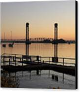 Rio Vista Bridge And Sail Boats Canvas Print