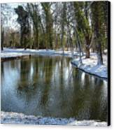 River Cherwell Meandering Through Christ Church Meadows Oxford Uk. Canvas Print by Mike Lester