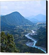 River  Flowing From Mountain Canvas Print by Atul Daimari