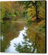 River Reflection Autumn Sunday Canvas Print by Terry  Wiley