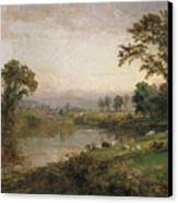 Riverscape In Early Autumn Canvas Print by Jasper Francis Cropsey