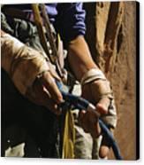 Rock Climber Becky Halls Wrapped Hands Canvas Print by Bill Hatcher