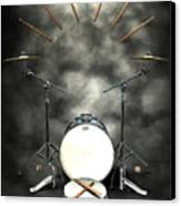 Rock N Roll Crest-the Drummer Canvas Print by Frederico Borges