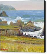 Rocky Shore Breakers Canvas Print by Max Mckenzie