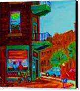 Rollerblading  Past The Cafe Canvas Print