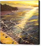 Romantic Sunset Surf Canvas Print