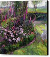 Rose Bed And Geese Canvas Print by Timothy Easton