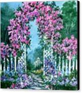 Rose-covered Trellis Canvas Print