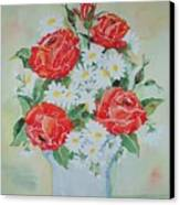 Roses And Daises Canvas Print